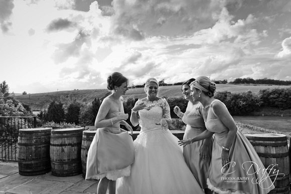 Bride and bridesmaids black and white photograph