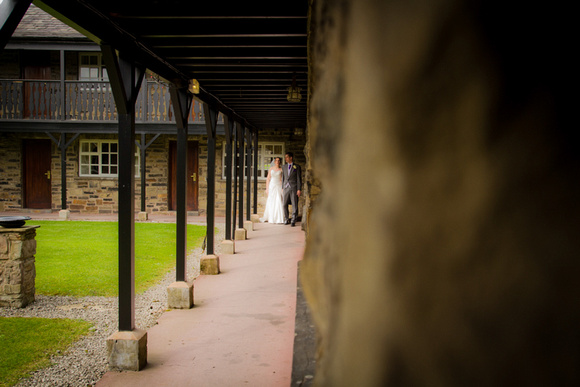 Bride and groom wedding portraits. Wedding photographs at the Last Drop Village in Bolton