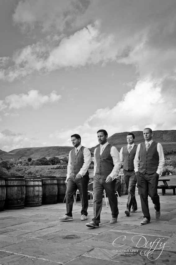 Groom and groomsmen black and white photograph