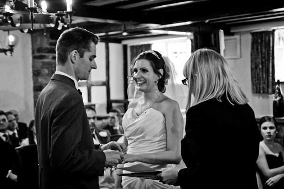 Black and white wedding service image. The Mimosa Suite, Last Drop Village, Bolton
