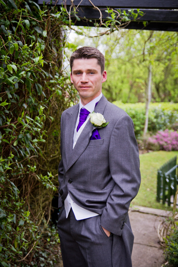 Groom wedding portrait. Wedding suit. Bolton, Last Drop Village