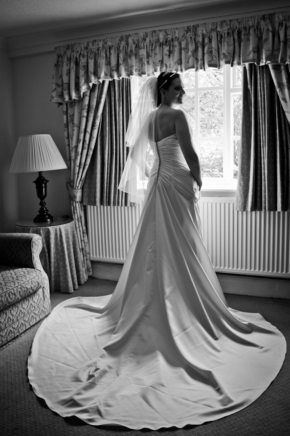 Stunning bride black and white portrait. Bolton Wedding Photographer