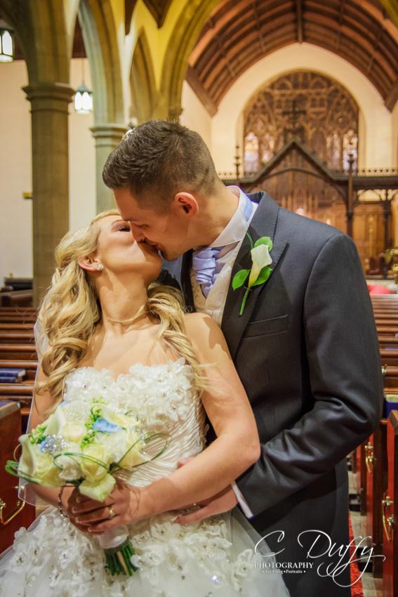 Bride and groom portrait, Christ Church Bolton