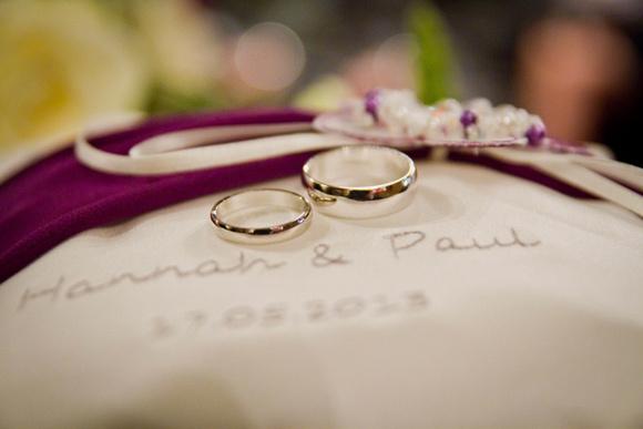 Wedding rings on a cushion