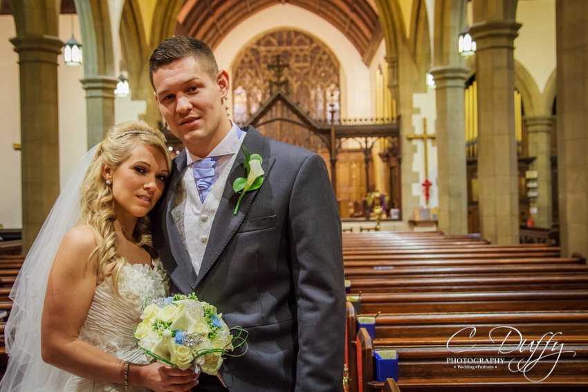 Bride and groom portrait, Christ Church Bolton